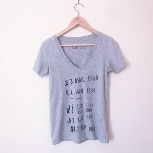 Out of print Library Card V neck tee gray heather